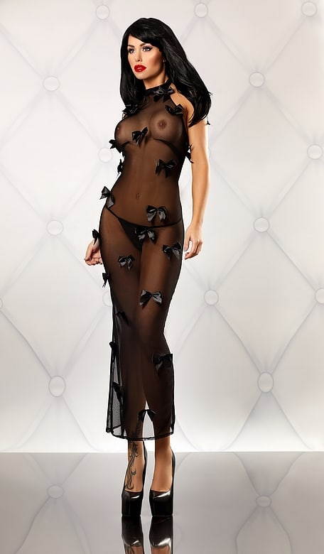 Vestido Transparente Color Negro