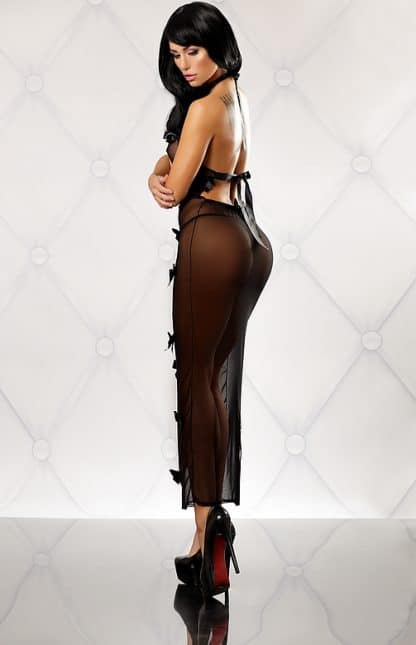 vestido trasparente color negro espalda