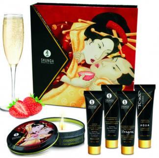 Kit Cosmetica Erotica Secretos De Geisha Fresas Y Champan De Shunga