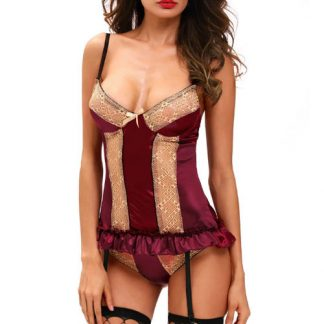 Corset Y Tanga Color Purpura De La Marca Queen Talla Unica