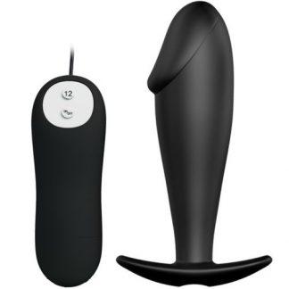 plug anal de Pretty Love negro con 12 modos de vibracion