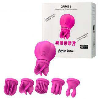 Estimulador Clitorial Recargable Con 5 Cabezales Silicona Y 10 Funciones