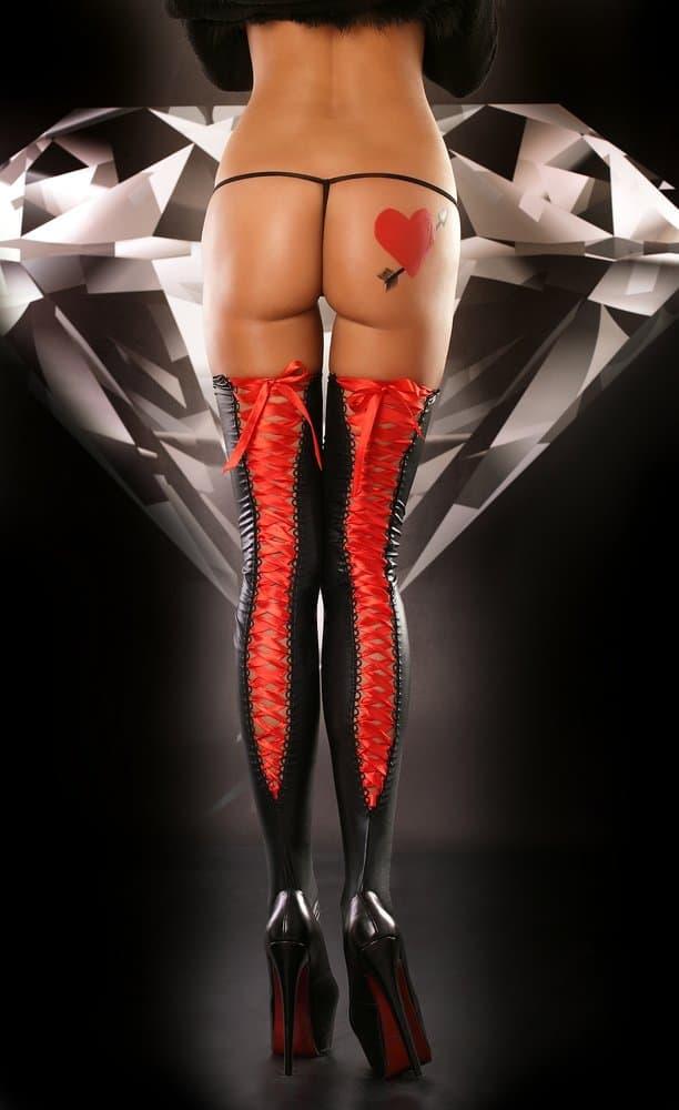 Medias Negras Con Lazo Rojo De LOLITTA Talla L XL