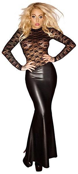 vestido largo negro sugerente con transparencias de Noir Handmade