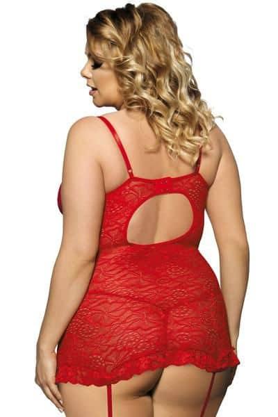Vestido Rojo Con Liguero Y Tanga Tallas Grandes 2XL  3XL Espalda