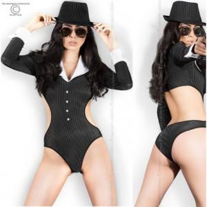 Disfraz De Ganster Dos Piezas Body Y Sombrero