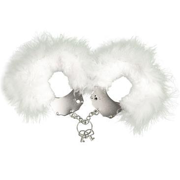 Esposaas metalicas con plumas blancas